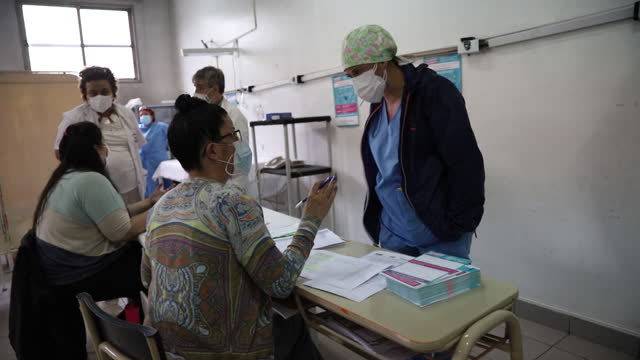 hospital workers in adrogue, argentina recieive sputnik v covid-19 vaccine in adrogue, buenos aires province, argentina, on monday, january 11, 2021. - buenos aires province stock videos & royalty-free footage