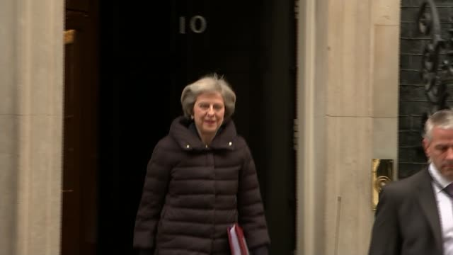 Hospitals struggle to cope with winter crisis / Downing Street attack on GPs ENGLAND London Downing Street EXT Prime Minister Theresa May MP from...