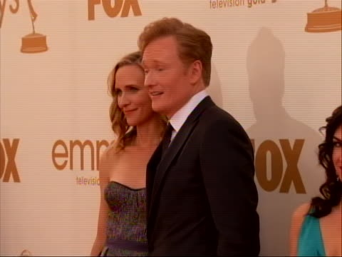 tv host comedian conan o'brien on the red carpet for 2011 emmy awards on september 18 the 63rd annual primetime emmy awards honoring the best in... - cable tv stock videos & royalty-free footage