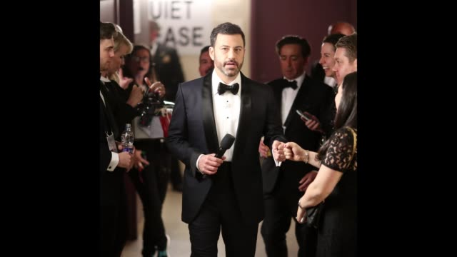 host jimmy kimmel seen backstage at the 89th annual academy awards at hollywood highland center on february 26 2017 in hollywood california - jimmy kimmel stock videos and b-roll footage