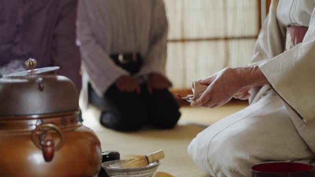 vídeos de stock, filmes e b-roll de anfitrião que limpa a colher na cerimónia de chá tradicional - washitsu