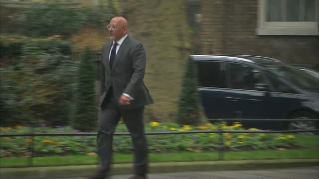 hostesses groped at presidents club charity event lib / ext nadhim zahawi mp along downing street - greater london stock videos and b-roll footage