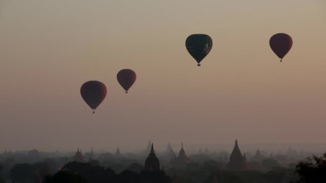 Hot air ballons float over temples in Myanmar
