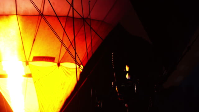 Hot air balloon in the dark night