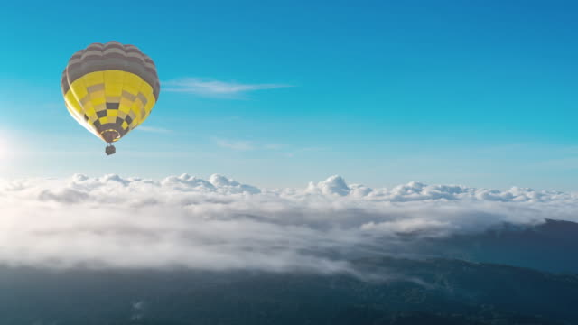 hot air balloon moving on the moutain - hot air balloon stock videos & royalty-free footage