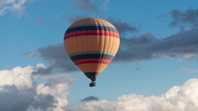 hot air balloon on a blue background - single object stock videos & royalty-free footage