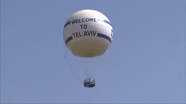 a hot air balloon with the message 'welcome to tel aviv' emblazoned on it - eurovision song contest stock videos & royalty-free footage