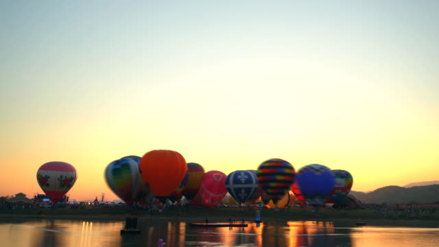 hot air balloons at sunset - historical reenactment stock videos & royalty-free footage