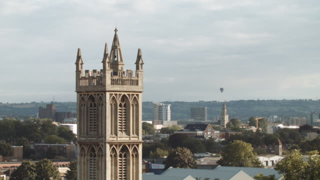 hot air balloons crossing the skyline (bristol) 4 - bristol england stock videos and b-roll footage