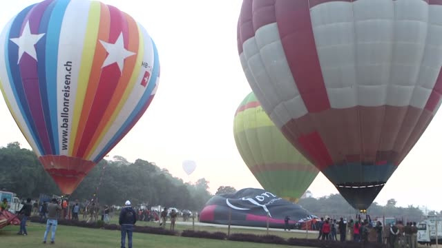 Hot air balloons flew over Agra in India home to the Taj Mahal during a balloon festival on Friday