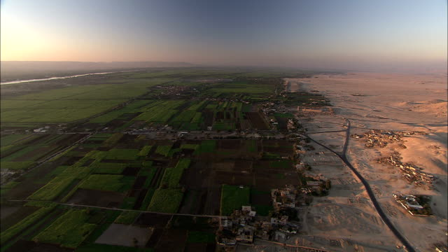 hot air balloons float over a lush agricultural area near the nile river. - sahara desert stock videos & royalty-free footage
