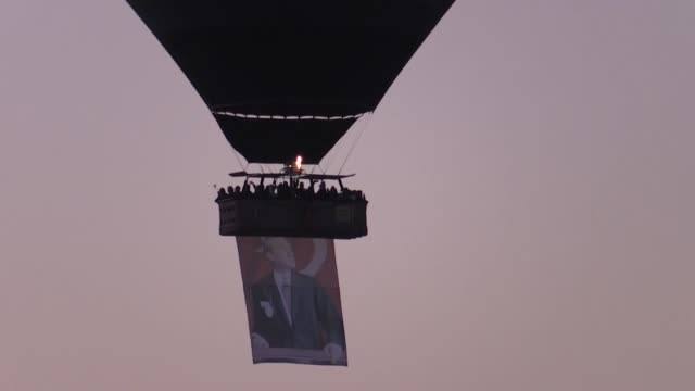 hot air balloons fly with turkish flags and portraits of mustafa kemal ataturk, the founder of republic of turkey, to pay tribute to ataturk on his... - 1938 stock videos & royalty-free footage