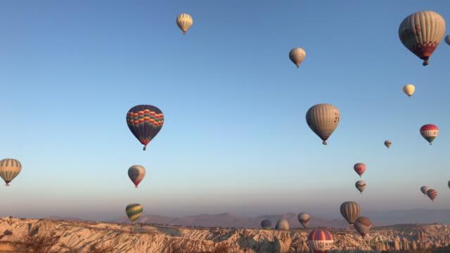 hot air balloons in cappadocia turkey - cappadocia stock videos and b-roll footage