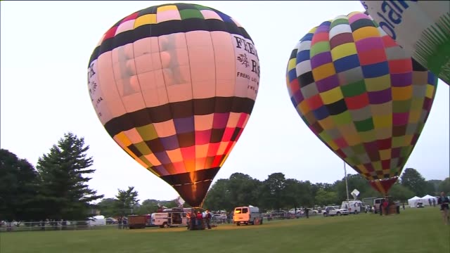 wgn hot air balloons on july 03 2013 in lisle illinois - dupage county stock videos & royalty-free footage