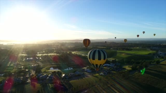 hot air balloons over australia's hunter valley - new south wales stock videos & royalty-free footage