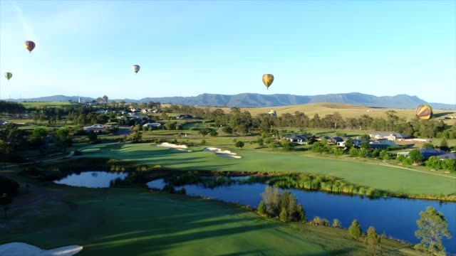 hot air balloons over australia's hunter valley - viniculture stock videos & royalty-free footage