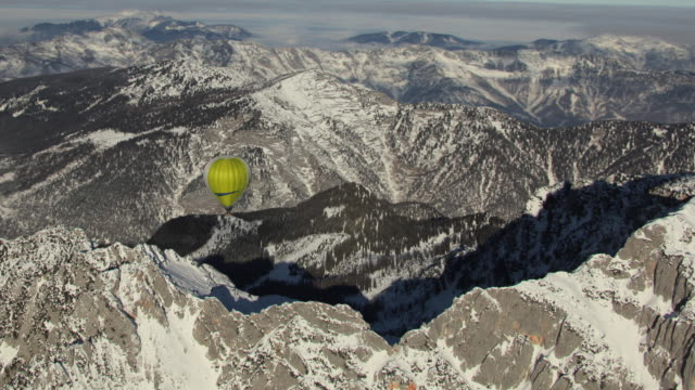 aerial ws hot air balloons over obertraun / austria - dachstein mountains stock videos and b-roll footage