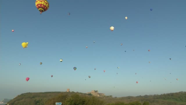 hot air balloons set off across english channel in world record attempt hot air balloons set off across english channel in world record attempt... - world record stock videos and b-roll footage
