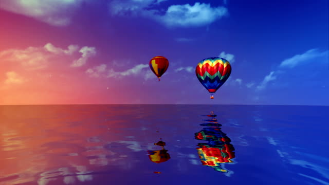 hot air balloons - two objects stock videos and b-roll footage