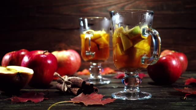 Hot apple cider in autumn