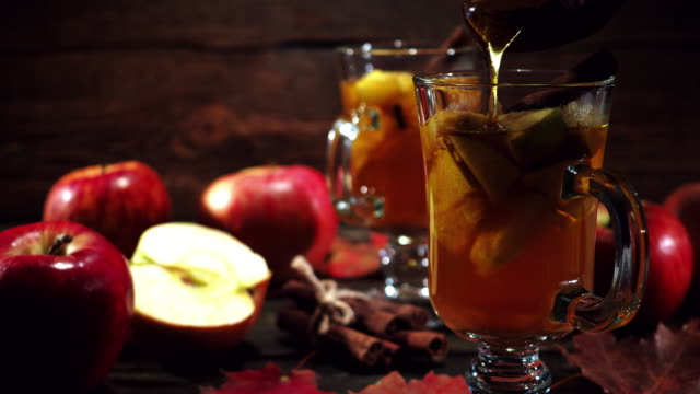 hot apple cider in autumn - home made stock videos & royalty-free footage
