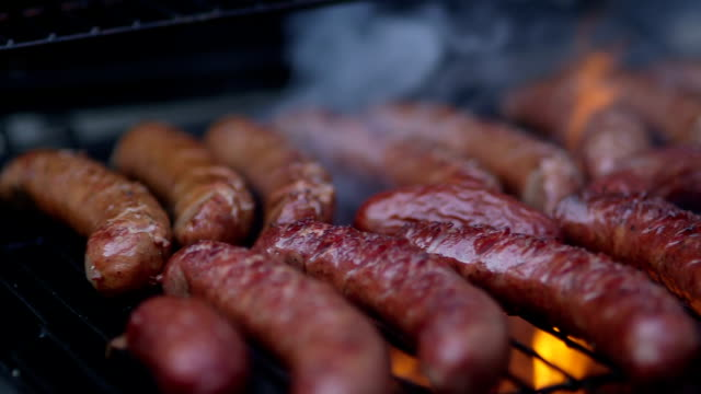 Hot Barbecue Sausage - Stock Footage