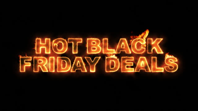 hot black friday deals text on fire - friday stock videos & royalty-free footage