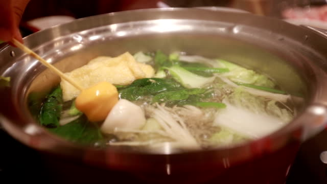 Hot boiling, shabu shabu, slow motion