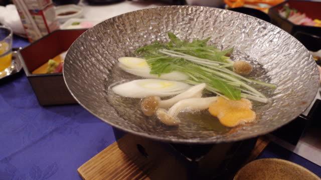 hot boiling soup, sukiyaki hot pot japanese food - boiler stock videos & royalty-free footage