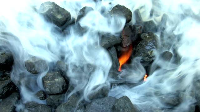 hd hot burning embers - burning coal stock videos & royalty-free footage