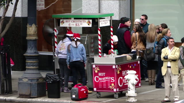 vídeos de stock e filmes b-roll de hot chestnut stand on the sidewalk two girls in santa hats standing behind the booth sign hot chestnuts 6 for $300 group of people standing near the... - chapéu do pai natal