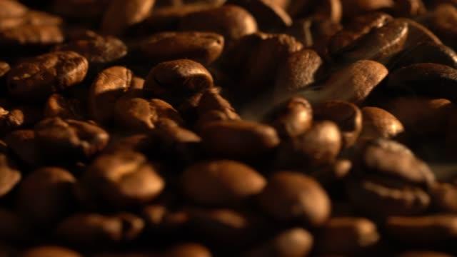 vídeos de stock, filmes e b-roll de grãos de café quentes com fumaça - grão de café