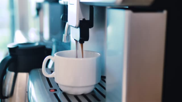 hot coffee cup, a cup of fragrant espresso, - machinery stock videos & royalty-free footage