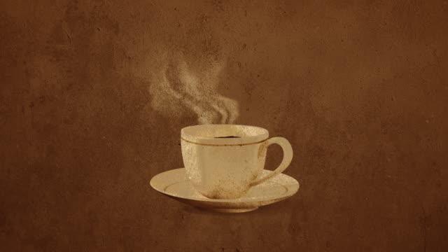 tazza di caffè caldo su sfondo nero stock video loopable 4k - tazza da caffè video stock e b–roll
