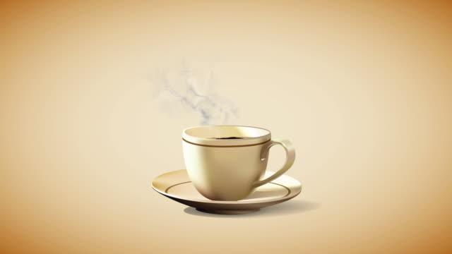 heiße kaffeetasse auf schwarzem hintergrund lager video loopable 4k - kaffeetasse stock-videos und b-roll-filmmaterial