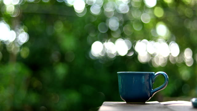 hot coffee drink with nature bokeh light background - mug stock videos and b-roll footage