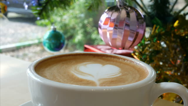 hot coffee in christmas time - froth art stock videos and b-roll footage