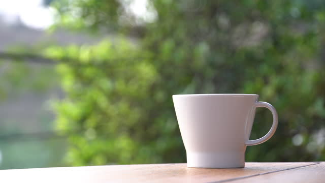 hot cup of coffee in garden at the morning time - breakfast stock videos & royalty-free footage