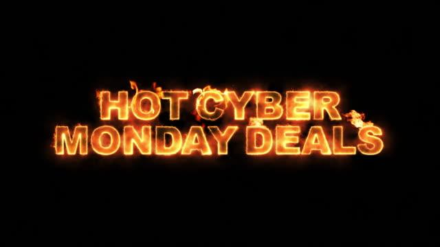 Hot Cyber Monday Deals Text on Fire