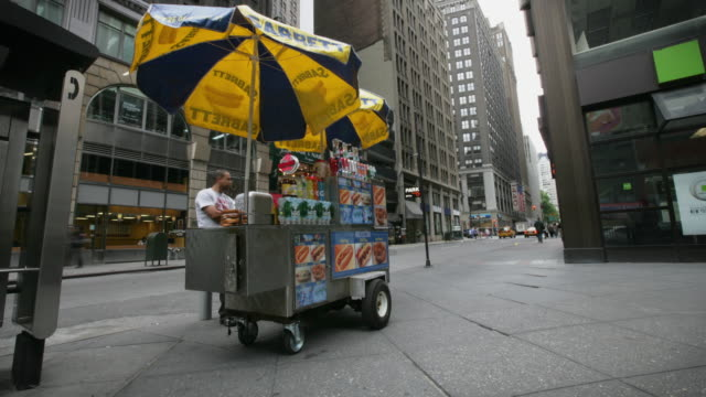 ws t/l hot dog vendor and his cart in midtown manhattan / new york city, new york, usa - cart stock videos & royalty-free footage