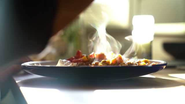 hot food with smoke on it - cinematography stock videos & royalty-free footage