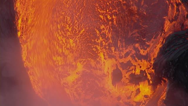 Hot lava flow at Hawaii Volcanoes National Park.
