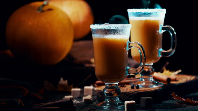 hot pumpkin pie cocktail - pumpkin stock videos & royalty-free footage