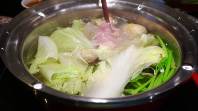 Hot shabu-shabu with vegetable and pork