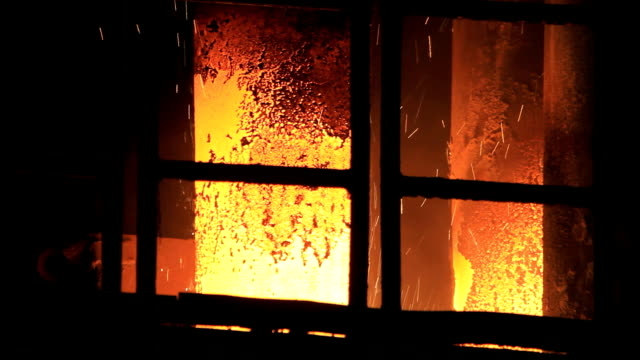 Hot sparks from the heated metal