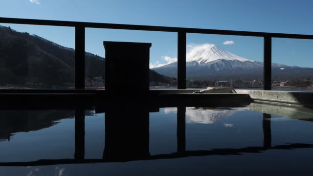 hot spring in front of Fuji Mountain