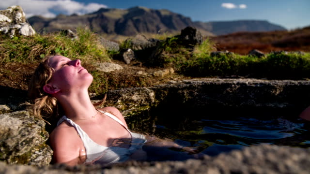 hot spring in iceland - hot spring stock videos & royalty-free footage