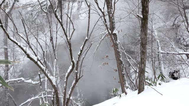 Hot spring river water steams in volcanic region of Japan in winter