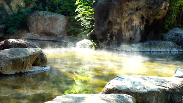 Hot Spring with Morning Sunlight