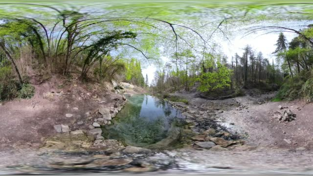 360 vr / hot spring with thermal pool in forest - thermal pool stock videos & royalty-free footage